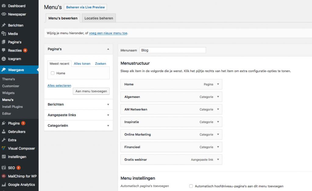 wordpress menu editor