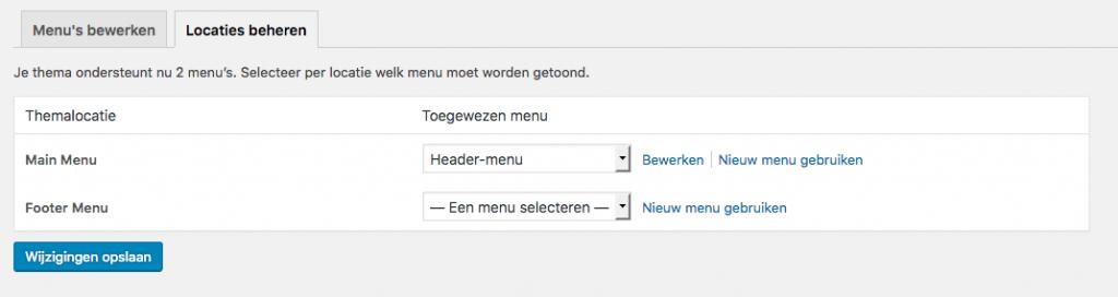 wordpress menu locaties beheren