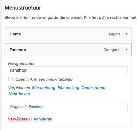 wordpress naam menu item veranderen