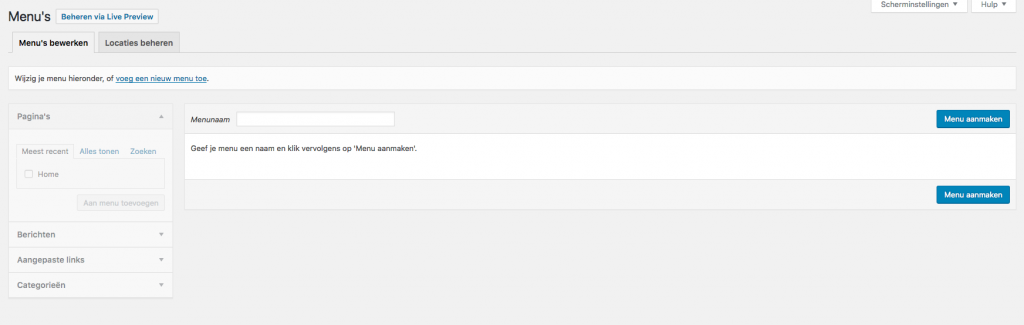 wordpress nieuw menu maken